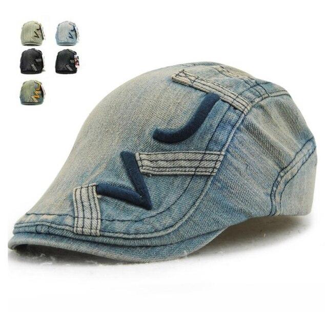 New Fashion Jins Tukang Koran Caps untuk Pria Wanita Kasual Denim topi  Duckbill Golf Driving Datar 84fafe02d3