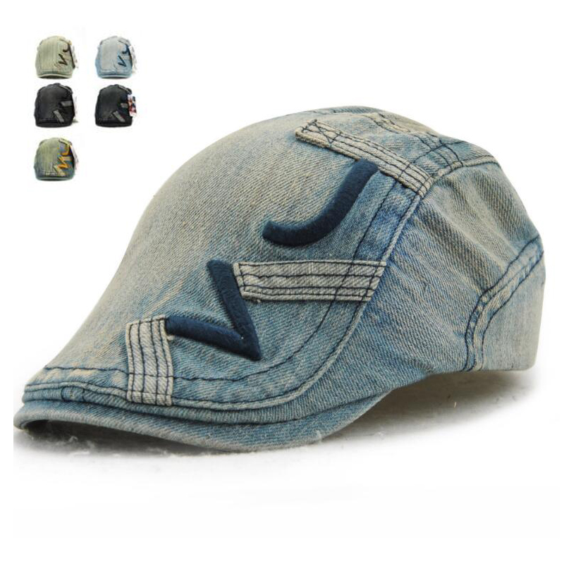 New Fashion Newsboy Jeans Caps for Men Women Casual Denim Hats Golf Driving Flat Unisex Denim Berets Hat Adult Duckbill Cap
