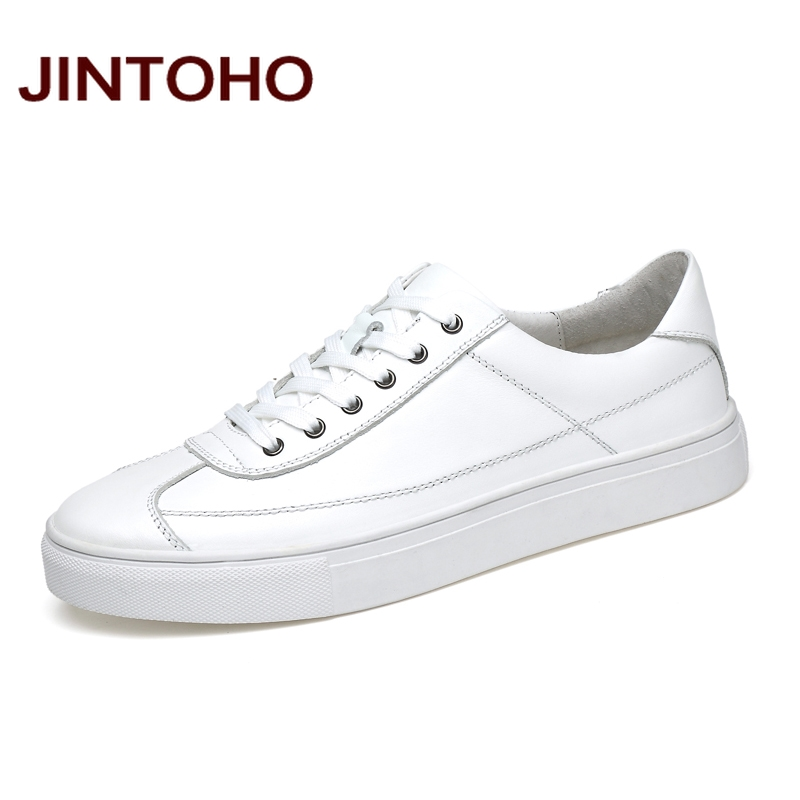 JINTOHO Brand Men Genuine Leather Shoes Big Size Casual Leather Shoes For Men White Male Shoes