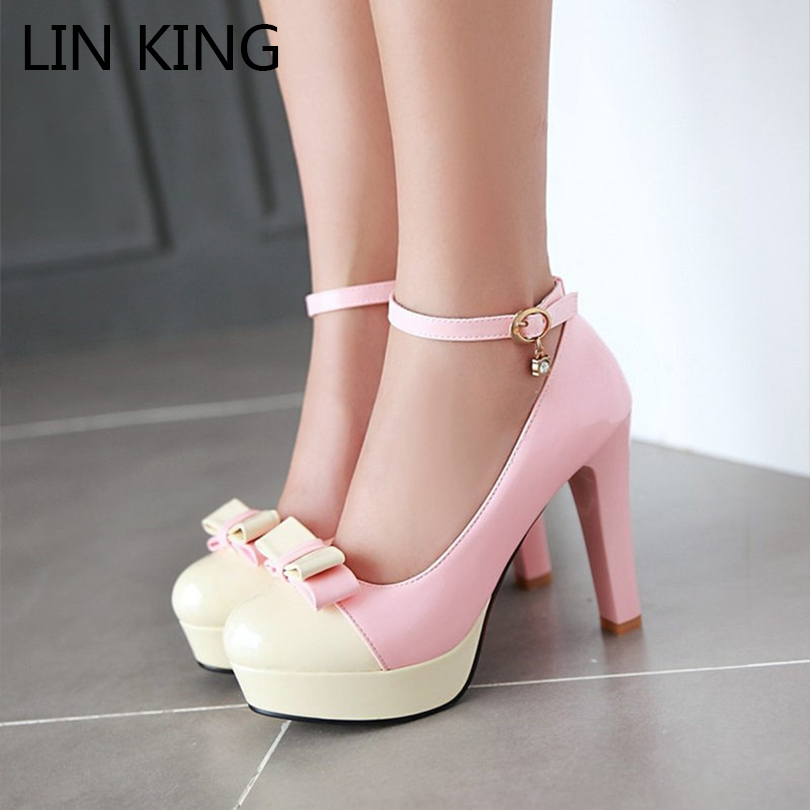 LINK ING Women Pumps Square Heel Ankle Strap Bowtie Round Toe Platfoem Shoes Slip On Slim