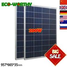 200W 18V Polycrystalline Solar Panels sit 100w x 2pcs for 12v Battery off Grid System Solar