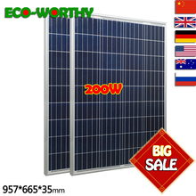 200W 18V Polycrystalline Solar Panels sit 100w x 2pcs for 12v Battery off Grid System Solar for Home System 12v