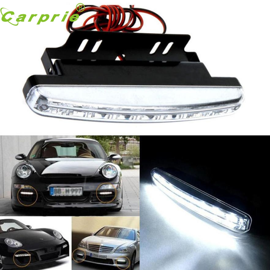 New Arrival 1PC 6000K Car Led Daytime Driving Running Light 8LED DRL Car Fog Lamp Waterproof White Light DC 12V 3w 100lm 6000k white 3 led car daytime running light lamp black dc 12v pair
