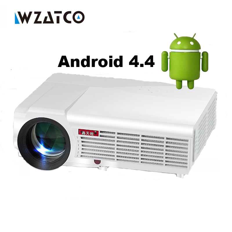 Prix pour WZATCO LED96W Android wifi LED DTD TV Projecteur 1080 P 5500Lu full hd 3d home cinéma lcd vidéo HDMI proyector projektor beamer