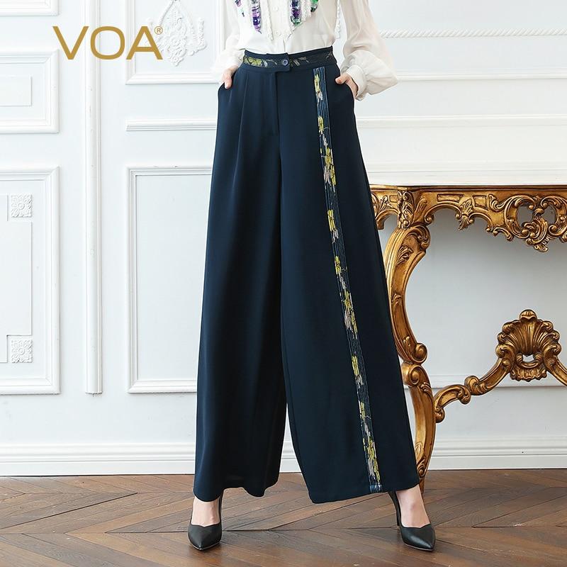 VOA Heavy Silk Office   Wide     Leg     Pants   Women Long Trousers Navy Blue Plus Size 5XL Loose Spring Slant Pockets Print Casual K379