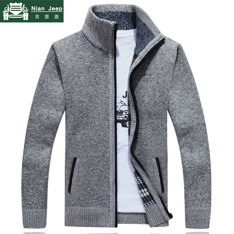 Sweater Men Jackets Knitwear-Size Zipper Wool Male Autumn Thick Winter Casual New M-3XL
