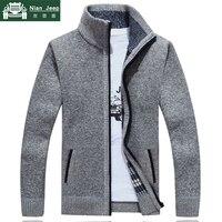 2019 новый свитер мужской осенне-зимний свитер мужской толстый искусственный мех шерсть мужской свитер куртки повседневная молния Трикотаж ...