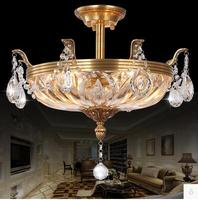 LED 21W 30W European Style Atmosphere Round Crystal LLamp Luxury Copper Droplight Sitting Room Dining Roo