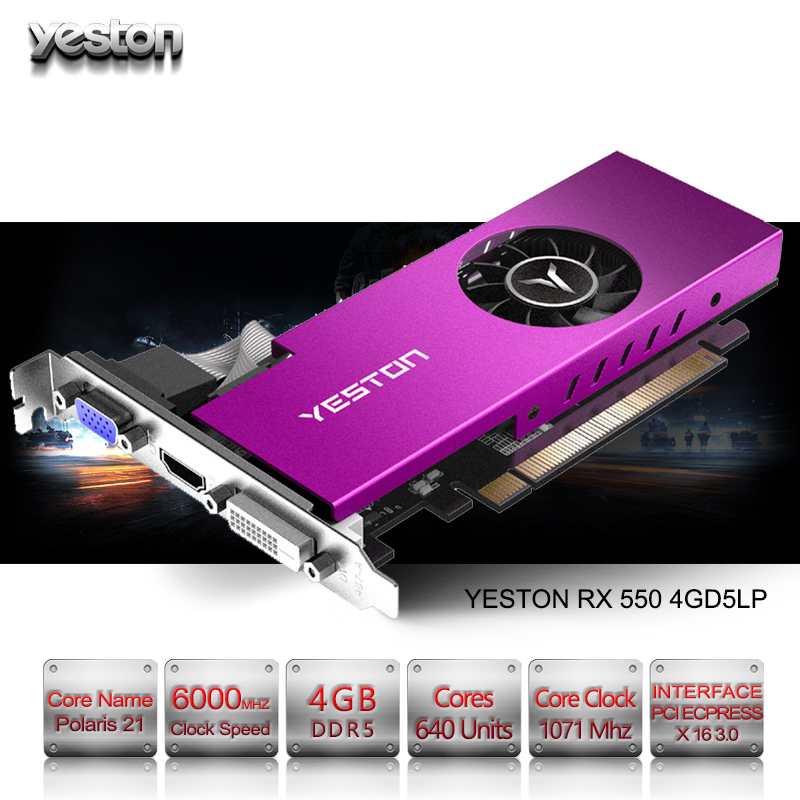 Yeston Radeon mini RX 550 GPU 4GB GDDR5 128bit Gaming Desktop computer PC  Video Graphics Cards support VGA/DVI-D/HDMI PCI-E 3 0