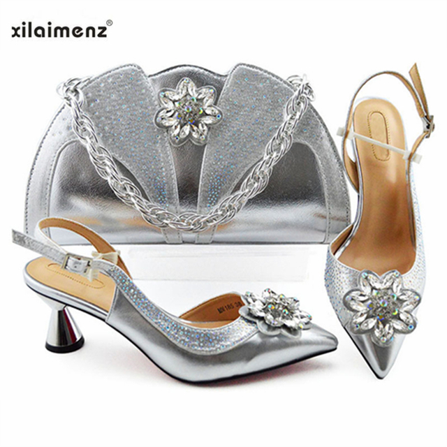Latest Silver Color Wedding Clutch Bag Match Nigerian Women Shoes and Bag Matching Set African Shoes and Bag Match for Party