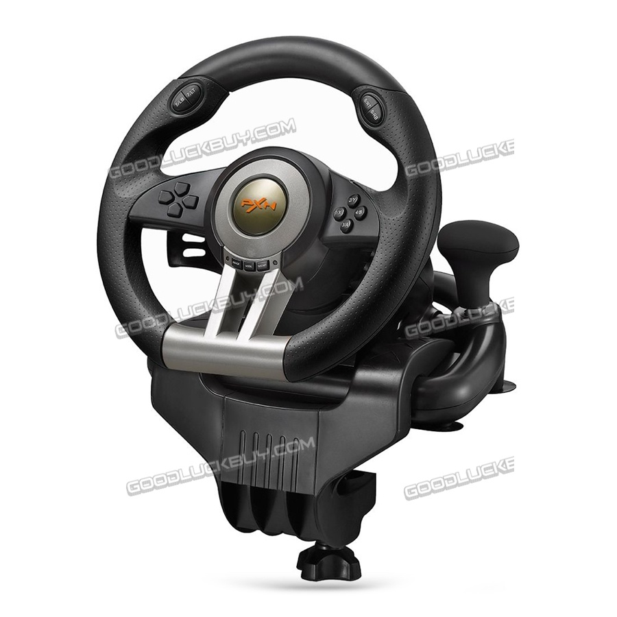 PXN-V3II USB Game Steering Wheel Plug Play Dual Motor Vibration for PC