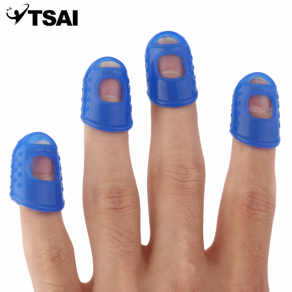 2017 New 4Pcs 3 Colors Guitar Fingertip Protectors Finger Guards For Ukulele Guitar white/grey/blue Drop Shipping Wholesale цены онлайн