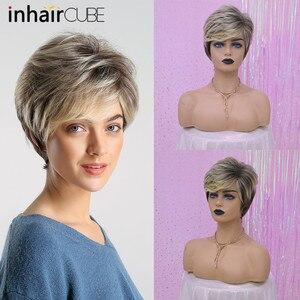 Image 4 - Inhaircube perruque naturelle avec frange synthétique, cheveux courts et lisses, cheveux courts et lisses, pour femmes, pour fête, sans colle