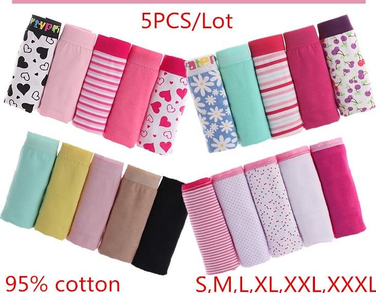 Women\'s Cotton 5PCS Briefs Cueca Plus Size