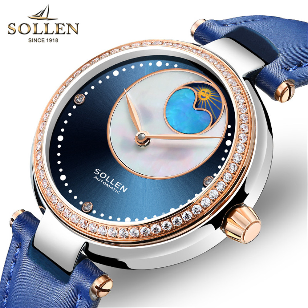 SOLLEN Ladies Famous Wristwatch Female Wrist Watch Women Brand Clock Mechanical watches For Girls Montre Femme Relogio 2018