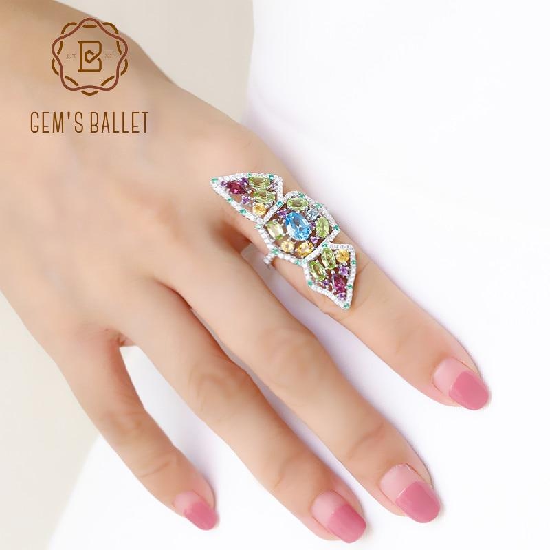 GEM'S balet Multicolor naturalne Topaz ametyst granat Peridot cytryn pierścień nowy 925 Sterling Silver sekcji pierścienie dla kobiet Party w Pierścionki od Biżuteria i akcesoria na  Grupa 1