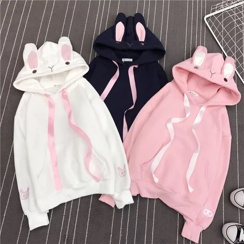 Women Cute Bunny Hoodie Long Sleeve Hoodie Lovely Female Rabbit Hoody Sweatshirts Loose Size Lovely Cotton Treetwear