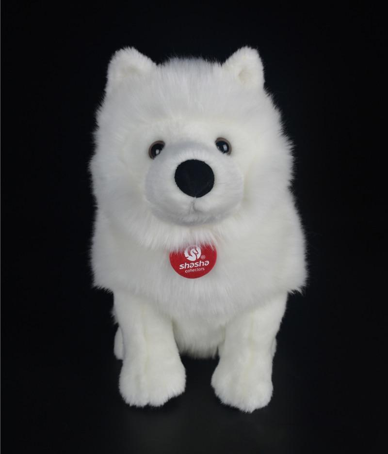 28cm Lifelike Samoyed Stuffed Toys Cute Simulation White Dog Plush Toy Puppy Plush Animals Toy Birthday Christmas Gifts happy child girl toys electric toy plush pet dog cute and funny simulation dog