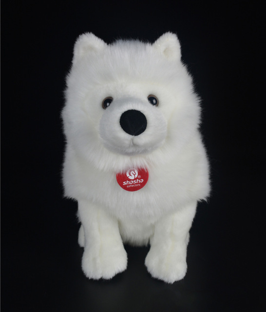 28cm Lifelike Samoyed Stuffed Toys Cute Simulation White Dog Plush