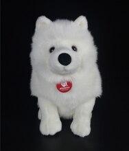 28cm lifelike samoyed brinquedos de pelúcia bonito simulação cão branco brinquedo de pelúcia filhote de cachorro animais de pelúcia brinquedo aniversário presentes de natal