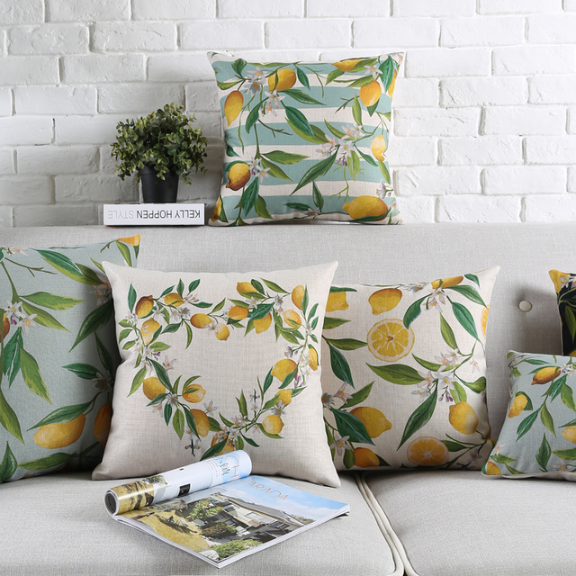Lemon Cushions Covers Yellow Green Decorative Pillows Modern Throw ...