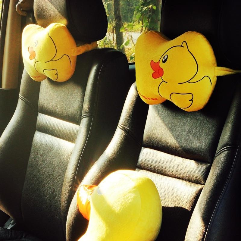 2pcs Cute Duck Car Seat Neck Pillow Universal Head Cushion Short Plush Auto Cartoon Headrest Travel Pillows Universal Size Clearance Price