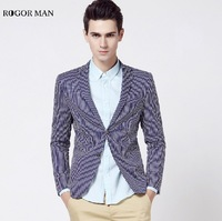ROGORMAN High Quality 2015 Men Cotton Super Slim Spring Blue Striped Casual Young Man Business Wedding