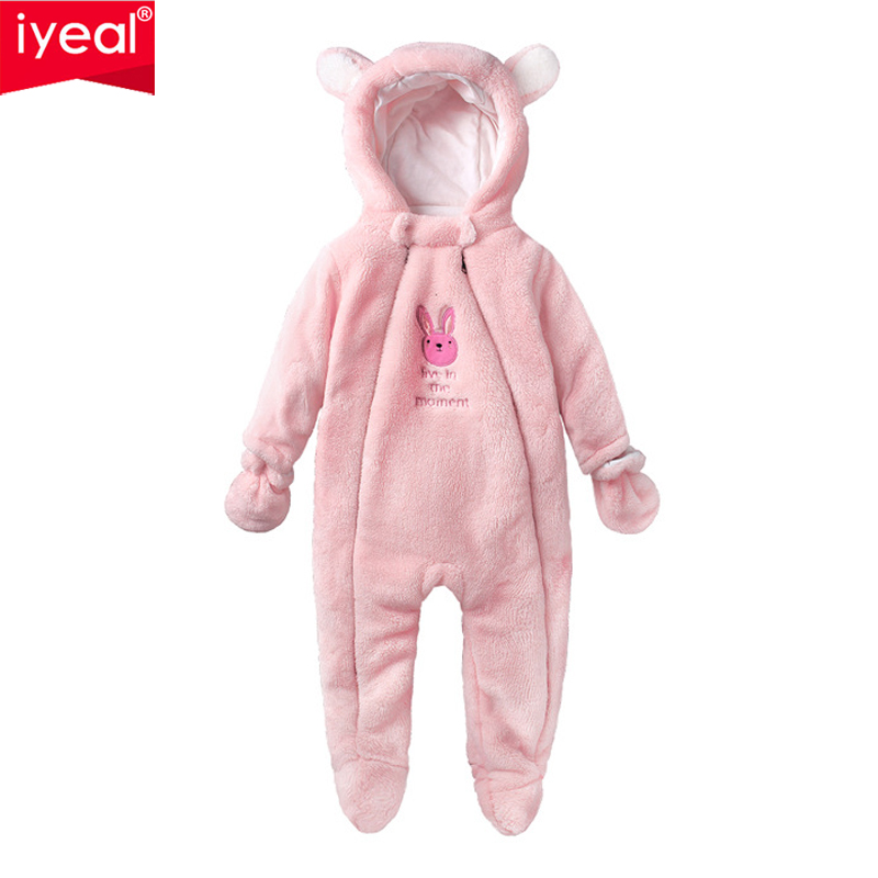 IYEAL New Cute Hooded Newborn Baby Romper Winter Costume Toddler Boys Clothes Warm Flannel Infant Girls Clothing Kids Jumpsuit цена 2017
