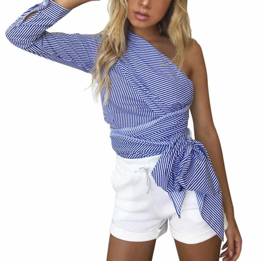 c5952cf14083c Detail Feedback Questions about 2019 Office Lady Fashion Striped Print  Shirts Women Sexy One Shoulder Crop Tops Summer Women s Long Sleeve Casual  Blouses ...