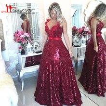 Sparkly Burgund Pailletten Prom Kleid 2017 Sexy Tiefem V-ausschnitt Abendkleid Vestidos de festa Arabisch Bodenlangen Formale kleid