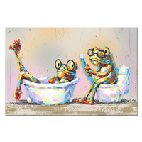 Animals Canvas Print Wall Art Glass Frog Couple Take Bath Read Newspaper Picture Painting Printed On Canvas For Bathroom Decor