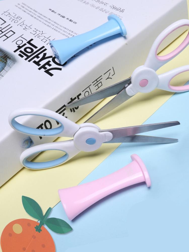 Children's Safety Scissors Hand Made Small Scissors Circular Head Paper-cut Scissors Creative Small Size Student Art Stationery