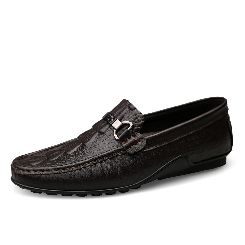 Appartements Hommes Zapatos Véritable Crocodile fur Hombre brown Conduite Doux black fur Noir Qualité Confortable brown Casual En Mocassins Top Cuir Chaussures wxXptO