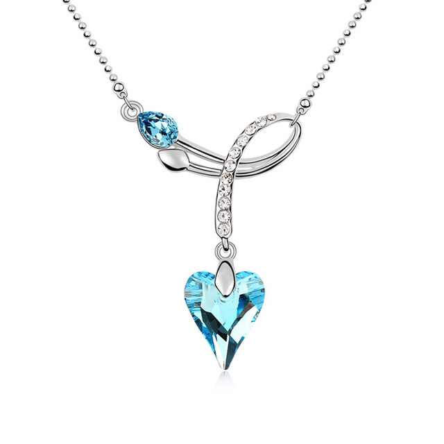 9d546ee96ad Austrian Blue Crystal Heart Pendant Necklace Women Chain Collar Necklaces  Girlfriend Costume Jewelry Romantic Gifts For
