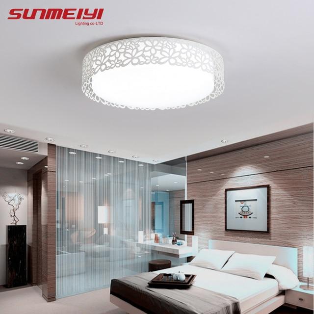 living room ceiling lights modern swivel rocking chairs for flower net model led bedroom round acrylic plafon lamp light fixtures home decor