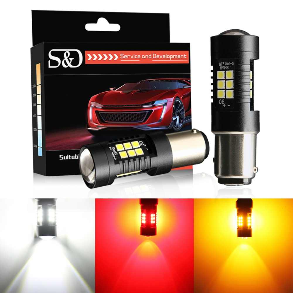 2pcs P21/5W LED 1157 BAY15D LED Bulbs 3030SMD Car Reverse Lights Stop Tail Lamp Turn Signal 12V Red Amber White Auto Lamp