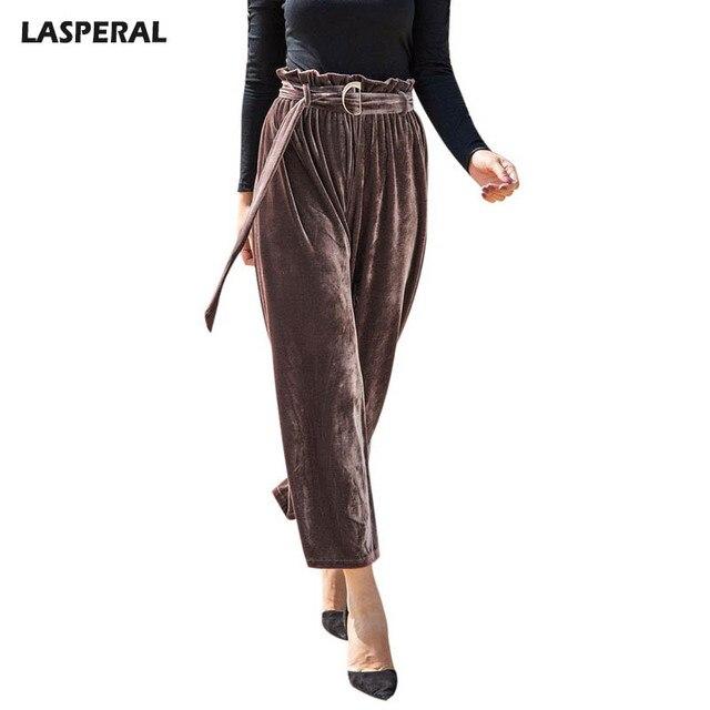 Lasperal 2018 Spring Velvet Wide Leg Pants Women Fashion Sashes Trousers Female Office Las Causal