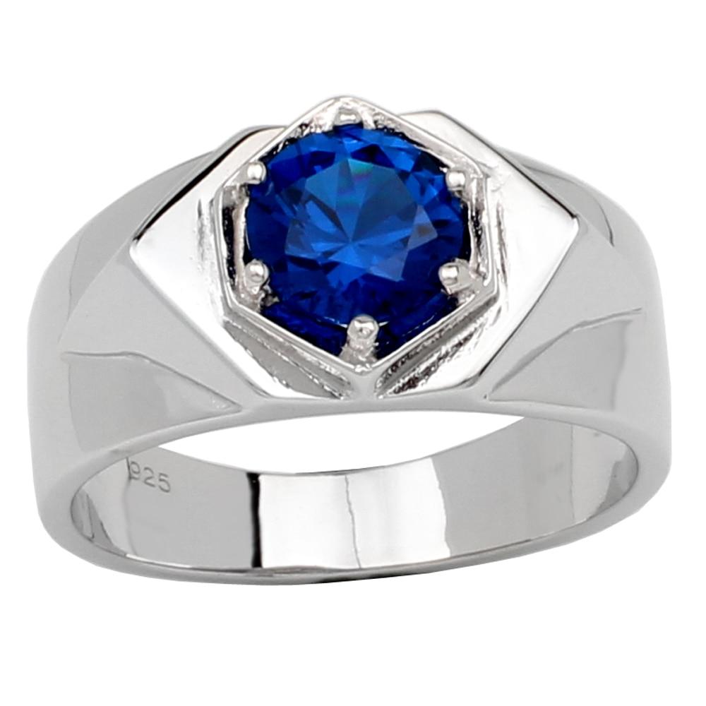Women fashion jewelry Natural Gemstone Blue Topaz 925 Sterling Silver Ring RVS10