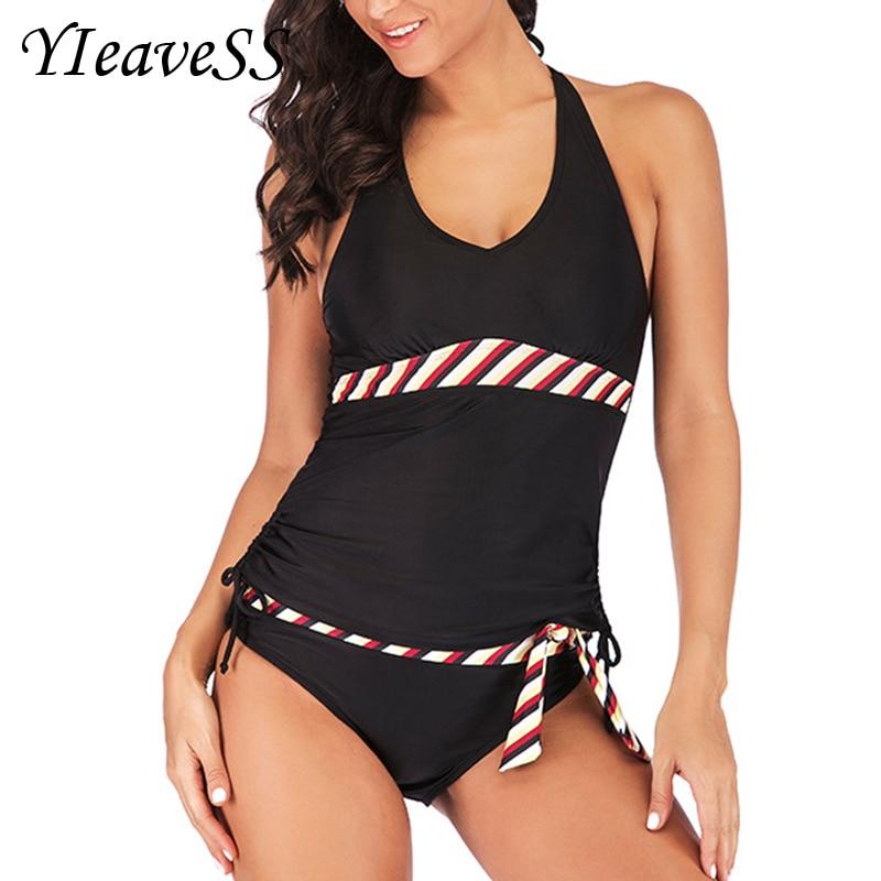 2019 Tankini Plus Size Swimming Suit 5XL Loose Swimsuit Women's Separate Bikini Waist Bather Push Up Padded Wire Free Swimwear