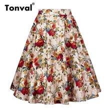 Tonval A Line Vintage Floral Skirt Back Zipper Pin up Rockabilly Cotton Swing Skirts Women Retro Skater Midi Skirt
