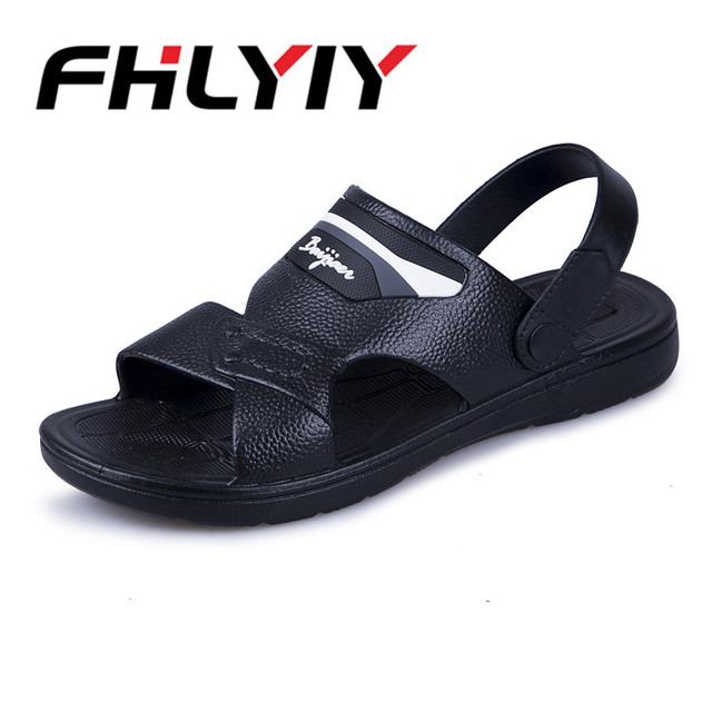 2d6272bf5 Men Cors Sandals Home Bathroom Indoor Outdoor Leather Sandals Beach Man  Flat Slippers Summer Breathable Flip Flops Men slipper