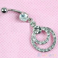 12 Pcs 316L Surgical Steel Double Ring Dangle Navel Button Bar Belly Ring Piercing Body Jewelry