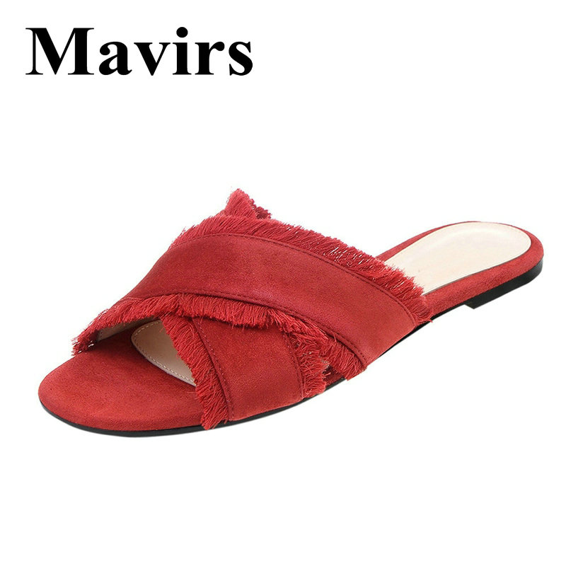 MAVIRS Brand Faux Suede Fringed Mules For Women Slippers Backless Black Red Blue Black Slides Slip On Dress Loafers US Size 5-15