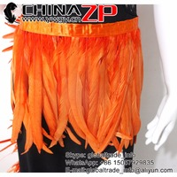 CHINAZP Factory Selected Prime Quality High Density Feather Trim Wholesale Orange Fully Dyed Cock Tail Fringe