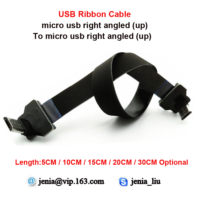 5/10/15/20/30CM Flexible Metal USB Data cable micro up angled male to micro up angled ffc ultra thin cable usb male to micro usb male flexible data cable black