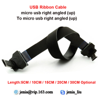 5 10 15 20 30CM Flexible Metal USB Data Cable Micro Up Angled Male To Micro