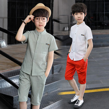 fashion Children Boys Clothing Sets Comfortable linen T-Shirt + Shorts kids school party Home pajamas two-piece Sports Suits
