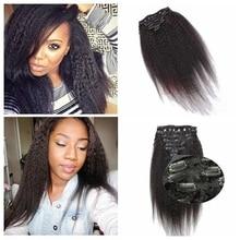 Clip Kinky Straight Human in Hair Extensions 7A Italian Coarse Yaki Human in Hair Brazilian Virgin in Hair Clip In Extension