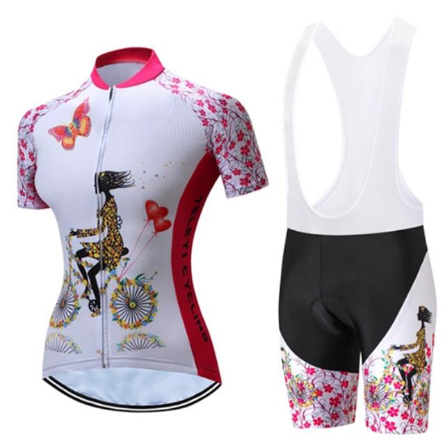 TELEYI venda Verão Mulheres Rosa Ciclismo Roupas de Ciclismo Jerseys/Quick-Dry Bicicleta Desgaste Dos Esportes Terno Dos Esportes