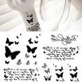 1 unid recién diseño de moda hermosa mariposa etiquetas engomadas del tatuaje impermeable cuerpo belleza #D0690
